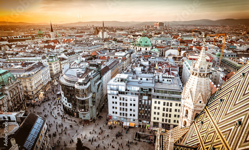 Vienna at sunset, aerial view from above the city Canvas Print