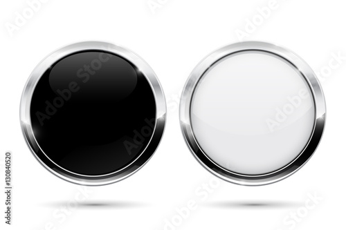 Obraz Round buttons with metal frame. Black and white shiny 3d icons - fototapety do salonu