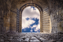 Arched Passage Open To Heaven`s Sky