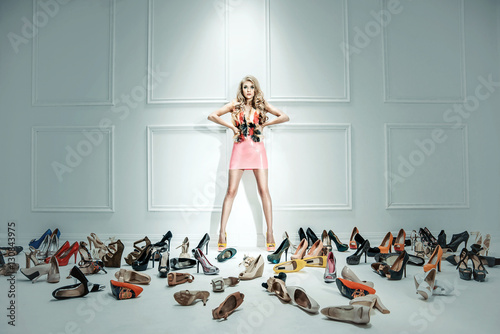Printed kitchen splashbacks Artist KB Conceptual image of a sensual lady with hundreds of shoes