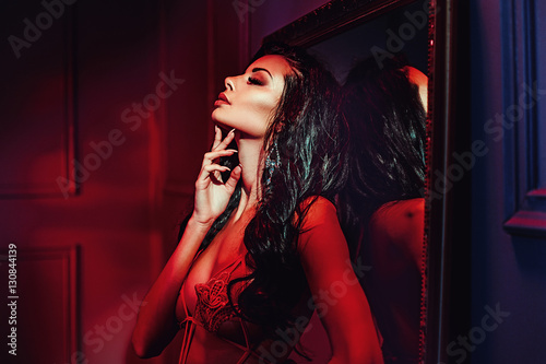 Printed kitchen splashbacks Artist KB Seductive brunette woman in the red place