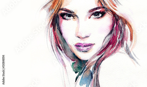 Poster Aquarel Gezicht Woman portrait. Fashion illustration. Watercolor painting