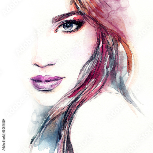 Garden Poster Watercolor Face Woman portrait. Fashion illustration. Watercolor painting
