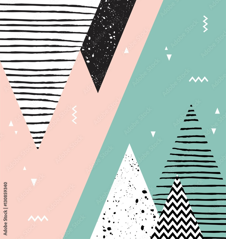 Abstrakcyjny wzór geometryczny styl skandynawski z góry, drzewa i trójkąty. <span>plik: #130859340   autor: jennylipmic</span>