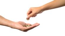 Woman Hand Giving Golden Coin ...