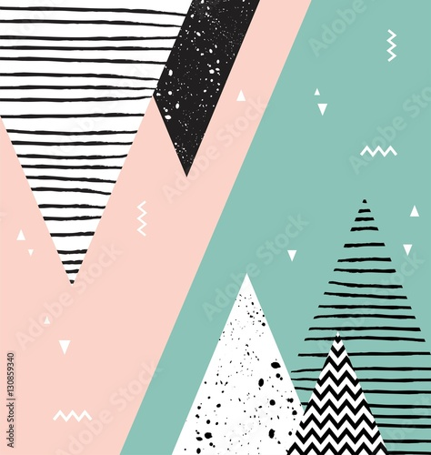 Abstrakcyjny wzór geometryczny styl skandynawski z góry, drzewa i trójkąty.