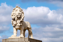 The South Bank Lion Statue On Westminster Bridge In London