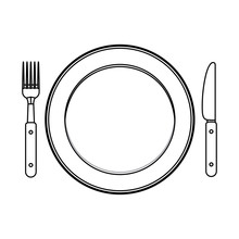 Cutlery And Plate Icon. Dishwa...