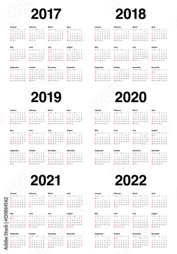 Simple Calendar template for 2017 to 2022 Plakat