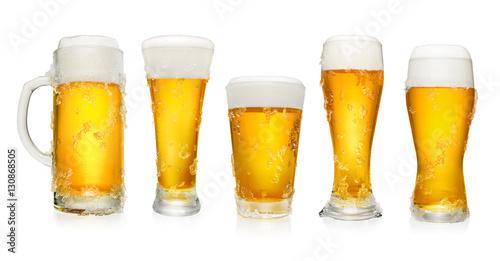 Fényképezés  Set of different glasses of beer