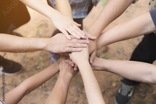 Fototapety, obrazy: Team Work Concept : Group of Diverse Hands Together Cross Proces