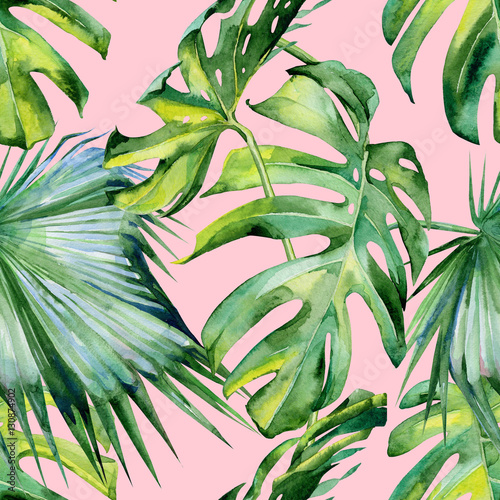 powielona-akwarela-ilustracja-tropikalne-liscie-wyglad-dzungli-motyw-letniej-akwareli-zielone-liscie-na-rozowym-tle
