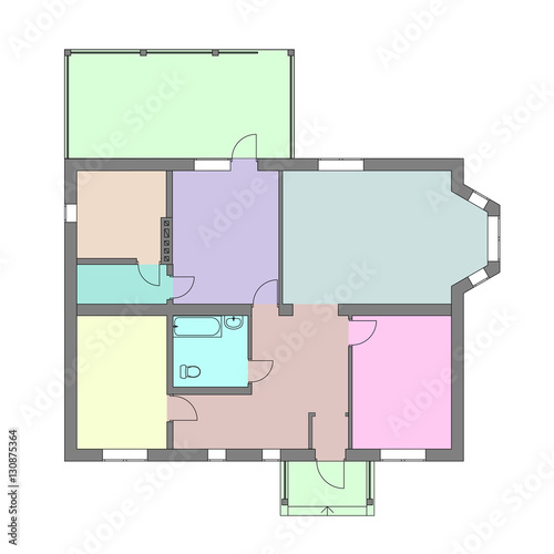 Photo  Unfurnished Floor plan of a modern apartment for your design