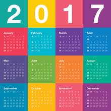 Year 2017 Calendar Vector Design Template