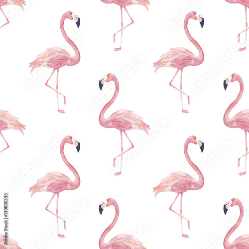 Canvas Prints Flamingo Bird Watercolor seamless pattern with exotic flamingo. Summer decoration print