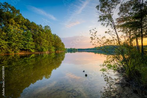 Lake Norman at sunset, at Parham Park in Davidson, North Carolin Canvas Print