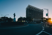 Nathaniel Greene Statue And Traffic Circle At Sunset, In Downtow
