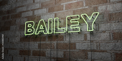 BAILEY - Glowing Neon Sign on stonework wall - 3D rendered royalty free stock illustration Canvas Print