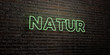 NATUR -Realistic Neon Sign on Brick Wall background - 3D rendered royalty free stock image. Can be used for online banner ads and direct mailers..