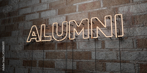 ALUMNI - Glowing Neon Sign on stonework wall - 3D rendered royalty free stock illustration Wallpaper Mural