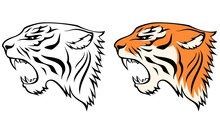 Simple Line Illustrations Of Tiger Head From Profile View