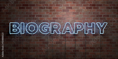 BIOGRAPHY - fluorescent Neon tube Sign on brickwork - Front view - 3D rendered royalty free stock picture Wallpaper Mural
