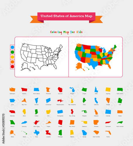 Complete Map Of Usa.Usa Map Coloring Map For Kids Complete With Region Icons