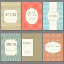 Template Collection In Vintage Pattern With Badges, Labels And Retro Style Frame  For Greeting Card, Placard, Poster And Brochure