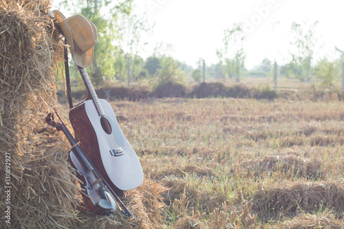 Fotografia  guitar and violin resting on straw Division in the fields, the w