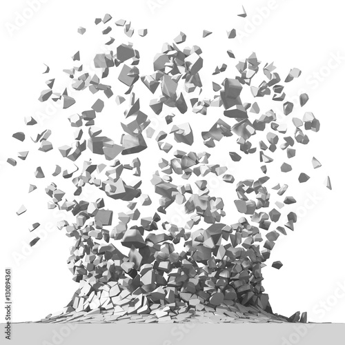 Explosion destruction with many chaotic fragments. Abstract dest