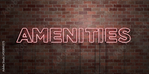 AMENITIES - fluorescent Neon tube Sign on brickwork - Front view - 3D rendered royalty free stock picture Wallpaper Mural