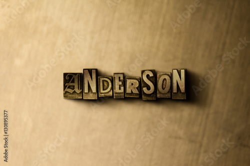 ANDERSON - close-up of grungy vintage typeset word on metal backdrop Canvas Print
