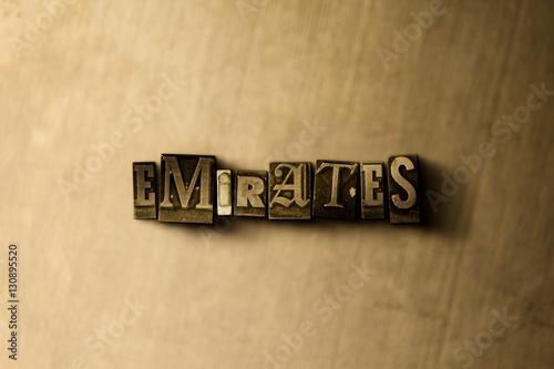 Fotografie, Obraz  EMIRATES - close-up of grungy vintage typeset word on metal backdrop