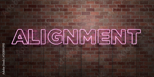ALIGNMENT - fluorescent Neon tube Sign on brickwork - Front view - 3D rendered royalty free stock picture Wallpaper Mural