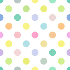 Seamless polka dot nursery vector pattern. Seamfree easter pastel color polkadots.