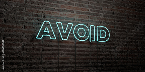 Photo AVOID -Realistic Neon Sign on Brick Wall background - 3D rendered royalty free stock image