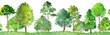 Leinwanddruck Bild - seamless watercolor landscape with trees