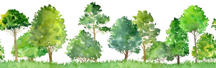 bešavni akvareli krajolik s drvećem