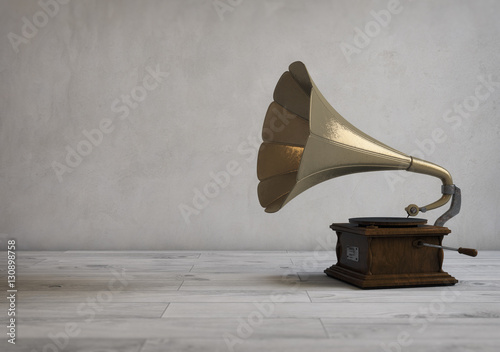 Classic Retro Gramophone. 3D render, digital image, vintage style Canvas Print