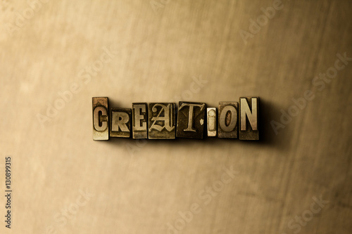 Fotografie, Obraz  CREATION - close-up of grungy vintage typeset word on metal backdrop