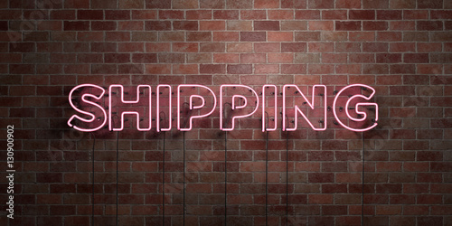 Photo  SHIPPING - fluorescent Neon tube Sign on brickwork - Front view - 3D rendered royalty free stock picture