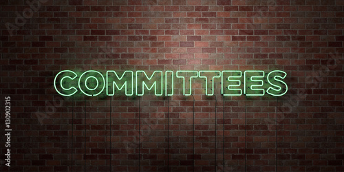 Obraz na plátně  COMMITTEES - fluorescent Neon tube Sign on brickwork - Front view - 3D rendered royalty free stock picture
