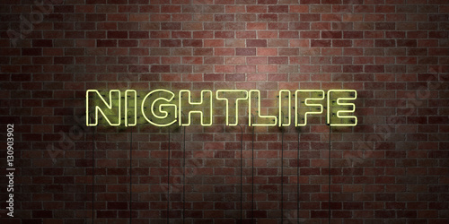 Láminas  NIGHTLIFE - fluorescent Neon tube Sign on brickwork - Front view - 3D rendered royalty free stock picture
