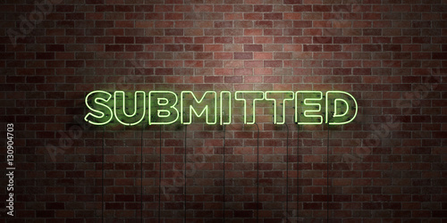Fototapeta  SUBMITTED - fluorescent Neon tube Sign on brickwork - Front view - 3D rendered royalty free stock picture