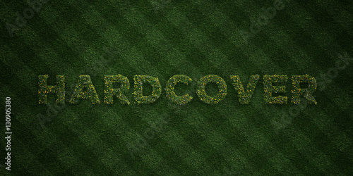 Fotografering  HARDCOVER - fresh Grass letters with flowers and dandelions - 3D rendered royalty free stock image