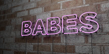 BABES - Glowing Neon Sign On S...