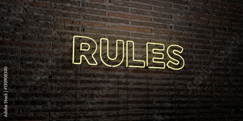 RULES -Realistic Neon Sign on Brick Wall background - 3D rendered royalty free stock image Wallpaper Mural