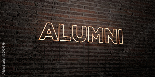 Photo ALUMNI -Realistic Neon Sign on Brick Wall background - 3D rendered royalty free stock image