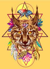 Panel Szklany Boho Illustration with lynx.