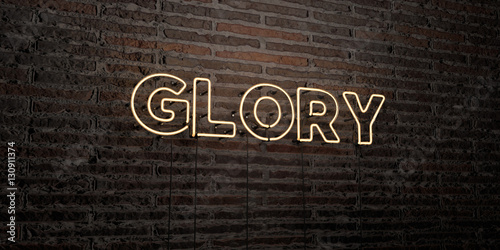 Fotografie, Tablou  GLORY -Realistic Neon Sign on Brick Wall background - 3D rendered royalty free stock image